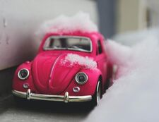 Picture of toy car in the snow